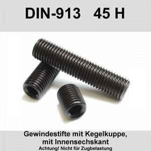 M6 DIN 913 45H Gewindestifte Kegelkuppe Innensechskant Madenschrauben Stahl M6x