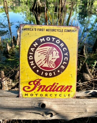 Indian Since 1901 Vintage Metal Tin Sign Wall Decor Garage Man Cave Home Bike US