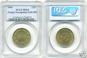 France Free (1940-1944) 2 Francs 1944 Philadelphia PCGS Ms 64