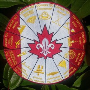 Scouts-Canada-150-Canada-Birthday-Blanket-Badge-World-Scout-Jamboree-Moot