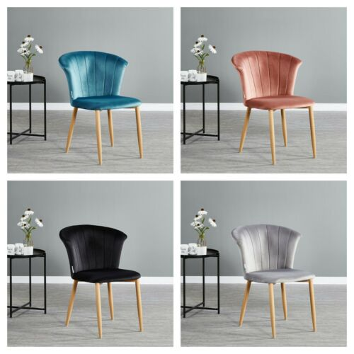 Elsa Scallop Shell Chair Crushed Velvet Soft Comfort Dining Home Furniture Grey,Black,Pink,Blue