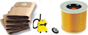 karcher mv3 vacuum cleaner hoover five paper dust bags filter ebay. Black Bedroom Furniture Sets. Home Design Ideas