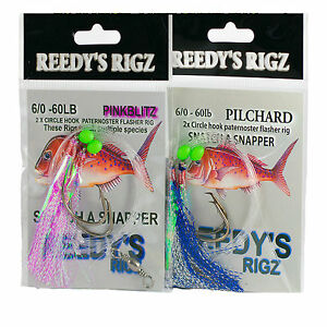 8-Snapper-snatchers-rigs-6-0-Fishing-Rig-60lb-Leader-Hook-Flasher-Rig-Mixed
