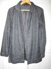 Eileen Fisher Metallic Charcoal Gray Tussah Silk Quilted Jacket S