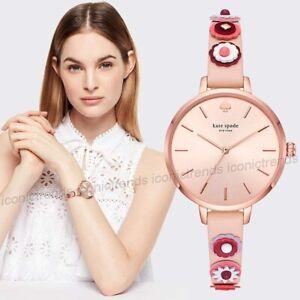 NWT-Kate-Spade-KSW1463-Metro-Western-Flowers-Rivet-Vachetta-Pink-Leather-Watch