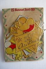 """Delightful Vintage Gummed Gold & Silver Seals """"Do Not Open Until Christmas"""" *"""