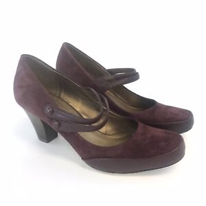 Clarks-Size-UK6-5-D-Burgundy-Leather-Suede-Slip-On-Mary-Jane-Court-Heels-Shoes