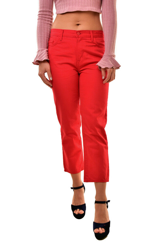 J BRAND Simone Rocha Women's Frill SR1265 Slim Jeans Red Size 28 RRP  BCF810