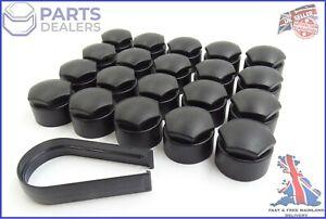 WHEEL NUT COVERS FOR SEAT IBIZA LEON ALHAMBRA 17mm BOLT CAPS MATT BLACK x20
