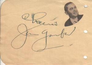 Jan Garber Autographed Album Page Popular Bandleader Actor D.77