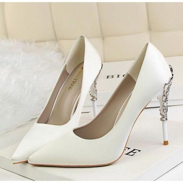 outlet online Decolte scarpe donna donna donna eleganti bianco  tacco 10 stiletto simil pelle CW055  comodamente