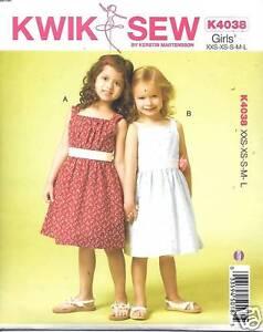 889b3af13773 K4038 GIRLS DIRNDL DRESSES SIZES XXS-L KWIK SEW PATTERN K4038