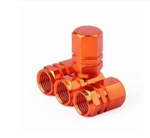 Lot-de-4-bouchons-de-valve-en-aluminium-v2-couleur-orange-Auto-Moto-Velo