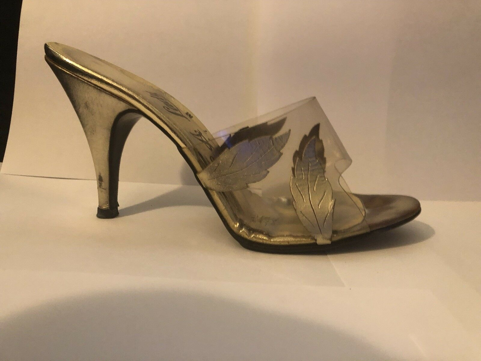 L. A. Lady High Heels Vintage Schuhes 7 M Gold Open Toe  Preowned