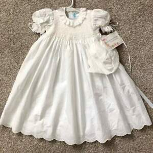 House-of-Hatten-NWT-Gorgeous-Smocked-Baby-Girl-Christening-Gown-Bonnet-6m