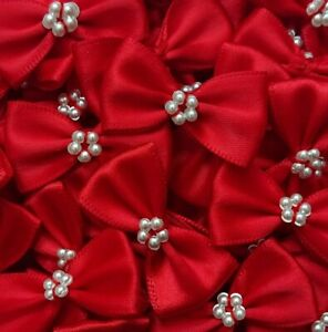 Pack-of-10-RED-3-5cm-Satin-Ready-Made-Mini-Ribbon-and-Pearl-Craft-Bows-Bow-Ties