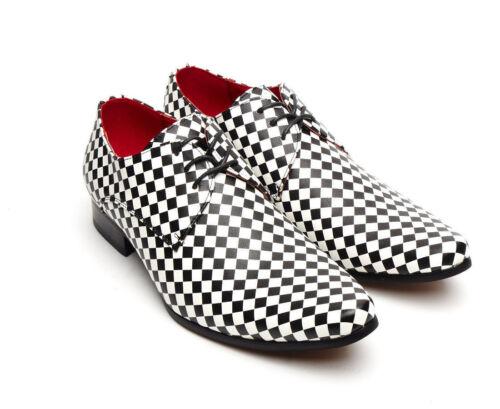 con retrò Scarpe punta bianco uomo vintage e punta da scacchi nero in a qrqtpn8Wz