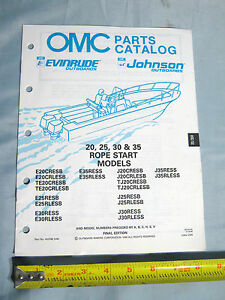 Details about 1990 Johnson Evinrude 20, 25, 30, 35 Rope Start Outboard Boat  Motor Part Catalog
