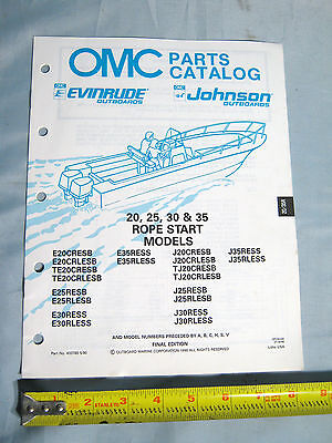 25 1996 OMC //JOHNSON // EVINRUDE 20 30 35 ROPE MODELS OUTBOARD PART MANUAL