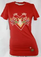 Womens Juniors David & Goliath Love Birds Red T-shirt