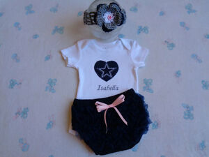 official photos bb3e3 a0981 Details about Dallas Cowboys Baby Girl Personalized Bodysuit, Bloomer and  Headband