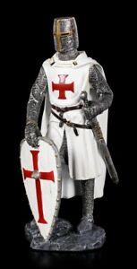Crusader-Figurine-Supports-Itself-On-Shield-Medieval-Knight-Warrior-Kampfer