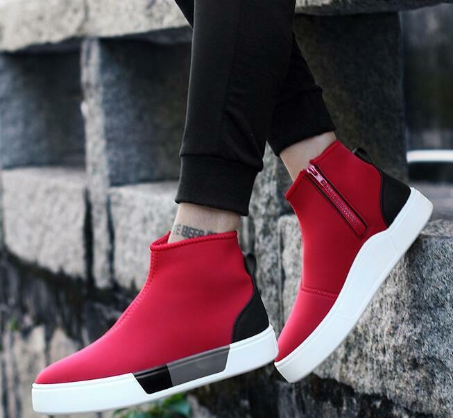 Breathable Spring Mens High top Side Zipper Hidden Heels Sneakers Running shoes