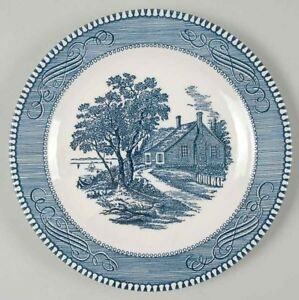 GORGEOUS-SET-OF-5-Plates-Currier-and-Ives-Blueby-ROYAL-USA