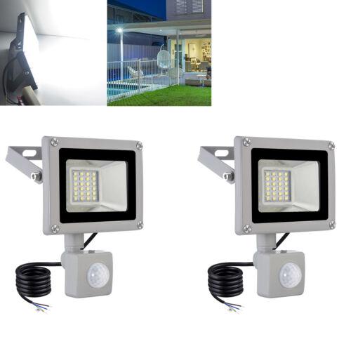 2X 20W LED Fluter Flutlicht mit Bewegungsmelder Außenstrahler Gartenlicht Weiß