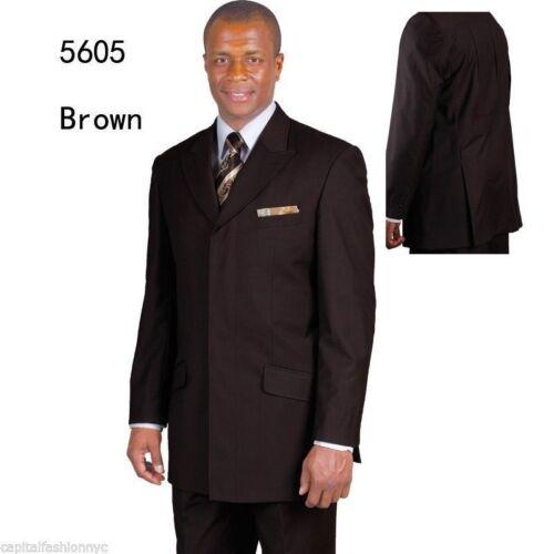 Men/'s 2 piece Milano Moda 4 Hidden button With 3 Back Splits Suit Black 5605