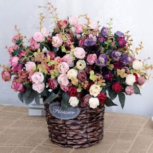 21-Heads-Artificial-Silk-Rose-Flowers-Bouquet-Fake-Leaves-Wedding-Home-Decor-Lot