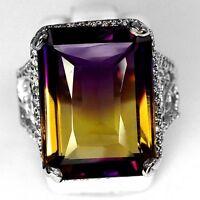 6.5CT Women Ametrine Emerald Cut 925 Silver Man Wedding Engagement Ring Size6-10