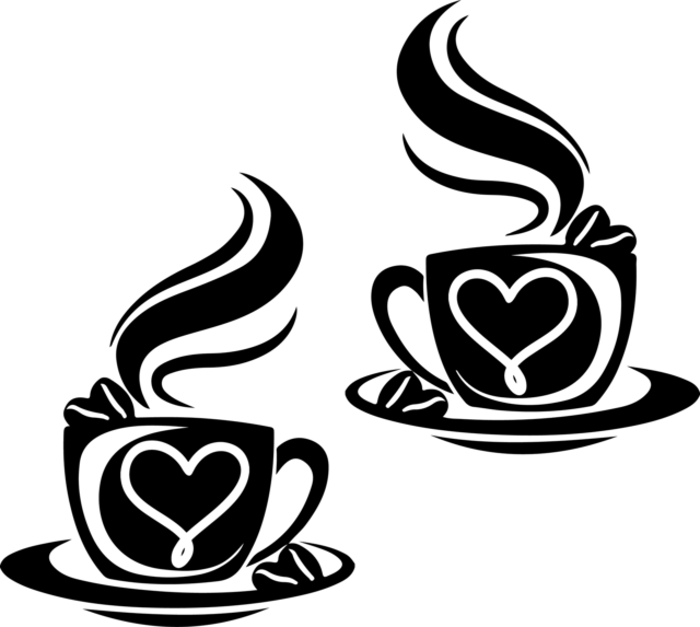 2 large Coffee Cups Kitchen Wall Stickers Vinyl Art Decals Cafe Diner Hearts
