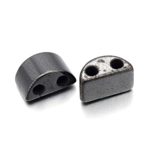 200pc Magnetic Hematite Beads 2 Hole Half Moon Loose Gemstone Beading Black 13mm