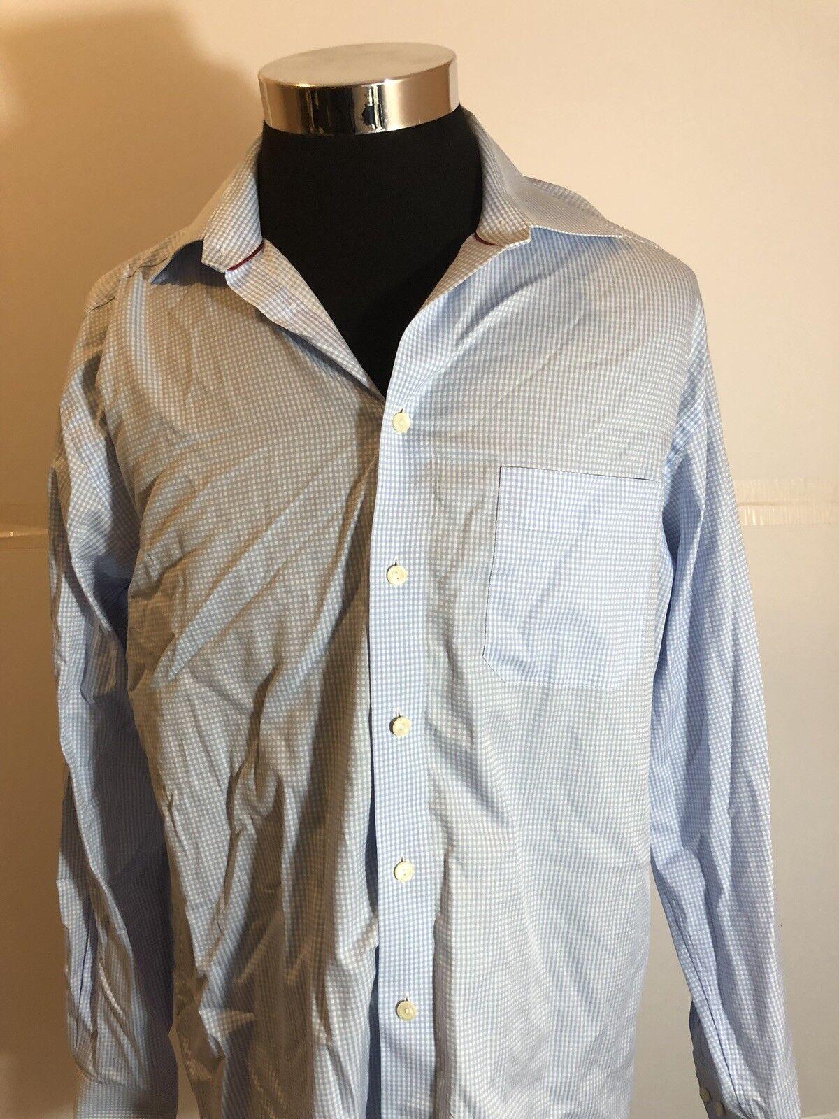 ETON bluee Plaid Cotton Men's Luxury Long S. Dress Shirt  16 Euro 41 Large A12