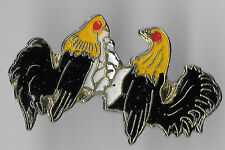 Vintage Cock Rooster Chicken Fighting old enamel pin