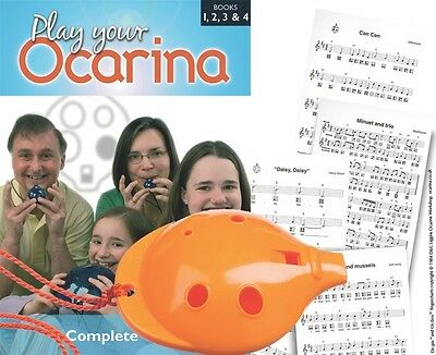 FREE DELIVERY COMPLETE Play Your Ocarina Books 1-4 OCARINA Yellow 6-hole