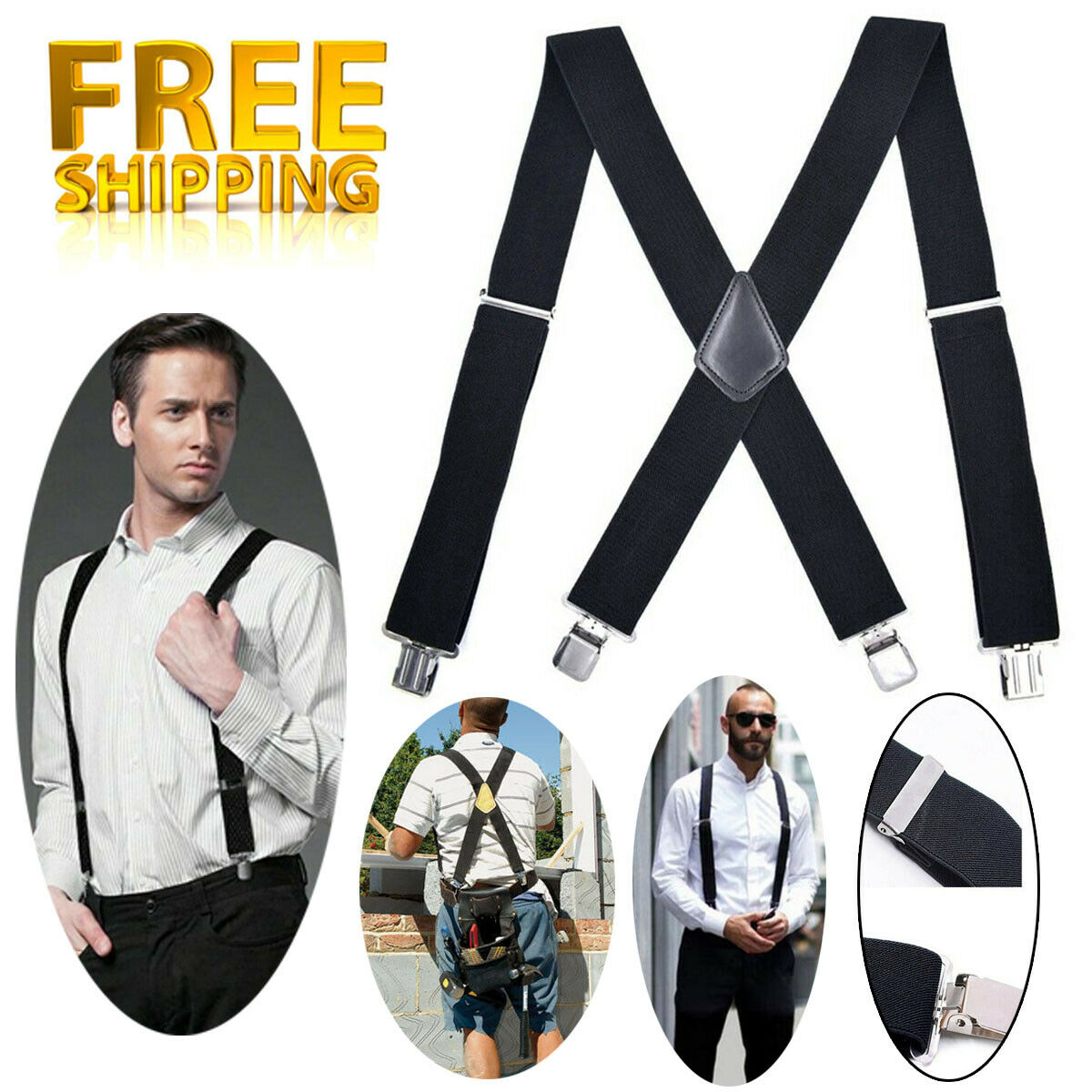 120cm trouser braces Padded Adjustable Work Braces With Heavy Duty Trouser Clips