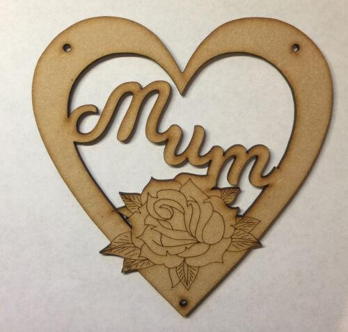 Wooden MDF laser cut Mum Mummy Nan Nanny mothers day hanging heart gift present