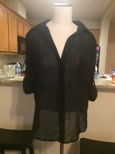 Macy S American Rag Cie Black Button Down Blouse Size M Career