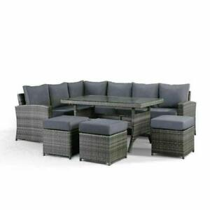 6PCS set di mobili da giardino rattan divano ad angolo tavolo e poggiapiedi All'aperto Veranda