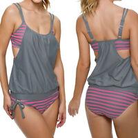 Plus Size Women Sexy Swimsuit Set Bikini Halter Striped Swimwear Tankini