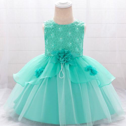Newborn Baby Girl Party Tutu Dress Embroidered Pageant Wedding Birthday Dress ZG