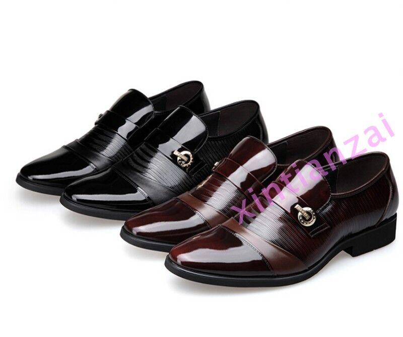 Vogue mens pointy toe Business dress shoes British wedding Slip On black brown