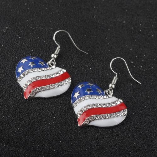 Boucle d/'oreille patriotique bijoux drapeau américain Clous d/'oreilles Étoile Cœur Forme Cristal