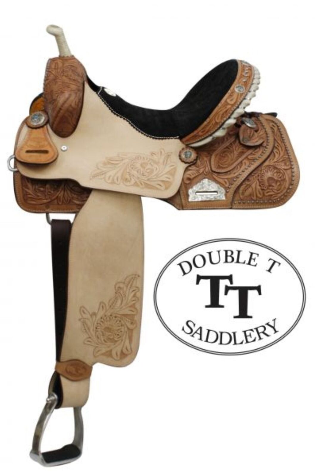 14  Double T Western Barrel Style Saddle With Floral Embossed Suede Seat