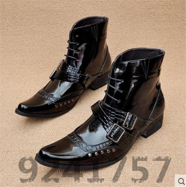 Cowboystiefel Herrenschuhe Schnür-stiefel Stiefeletten  in Schwarz   Gr.38-43 44