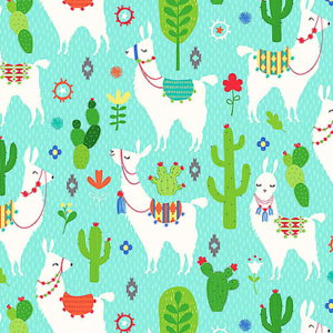 NORTHCOTT LLAMA LLAMA LLAMAS /& CACTUS ON AQUA BLUE 100/% COTTON 21766-63