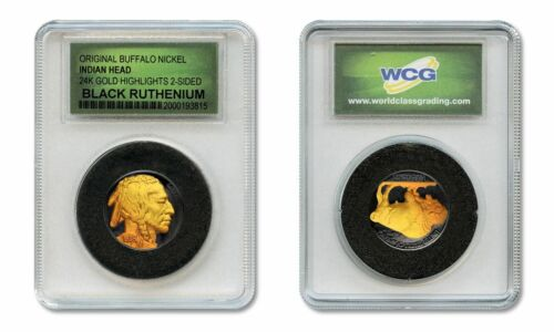BLACK RUTHENIUM Indian Head Buffalo Nickel 2-Sided w//24KT Gold in Slabbed Holder
