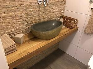 waschtischplatte waschtisch eiche massivholz holz natur baumkante ebay. Black Bedroom Furniture Sets. Home Design Ideas